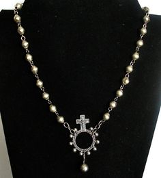 Silver Brass Prayer Bead Necklace with by ClassicModernNatural, $43.00