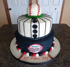 Minnesota Twins Baseball Cake - Minnesota Twins Baseball Cake (2nd one of these that I have done-designed by me) White Cake with whipped buttercream. Baseball is rice krispy treats with homemade fondant accents through out the cake.