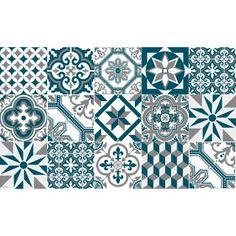 Tapis Vinyle Carreaux de Ciment Ginette - Bleu Canard - Ciment Factory