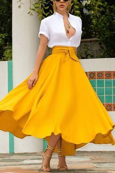 Yellow Skirt Outfits, A Line Skirt Outfits, A Line Skirts, Yellow Clothes, Yellow Skirts, Full Skirt Outfit, Orange Skirt, Dress Outfits, Long A Line Skirt