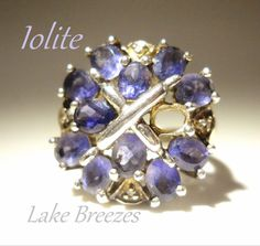 Vintage Iolite Ring Sterling Silver Violet Cluster by LakeBreezes