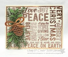 Stamp & Create With Sabrina: 2016 Holiday Catalogue Sneak Peek - Stampin Up Merry Medley & Pretty Pines Thinlits Stampin Up Christmas, Christmas Cards To Make, Noel Christmas, Xmas Cards, Christmas Projects, Christmas Greetings, Handmade Christmas, Holiday Cards, Gift Card Boxes