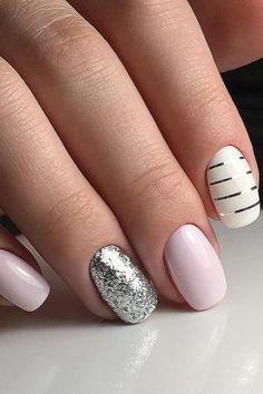 nail design glitter pink and white svetanail417 #pinkandwhitenails
