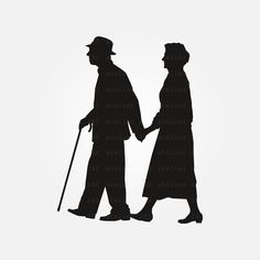 Eldest walking SVG  # 2   Grandmother and Grandfather stroll SVG Cut Files   Cut File   Cricut   Commercial use by Atelier240 on Etsy Low Key Portraits, Silhouette Photography, Old Couples, Silhouette Studio Designer Edition, Svg Files For Cricut, Vector File, Commercial, Walking, Clip Art