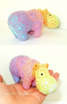 Crochet Rainbow Hippo