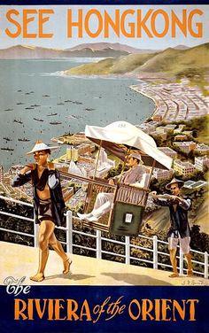 See Hong Kong Vintage Travel Poster