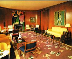 Nelson Rockefeller Fifth Avenue Residence - living room. Design by Jean-Michel Frank. i personally dont like the way this room is set as there are many colors introduced and i fell like it is not flowing. It seems choppy to me. Room Rugs, Rugs In Living Room, Living Room Designs, Decoration, Art Decor, Home Decor, Decor Ideas, Nelson Rockefeller, City Rugs