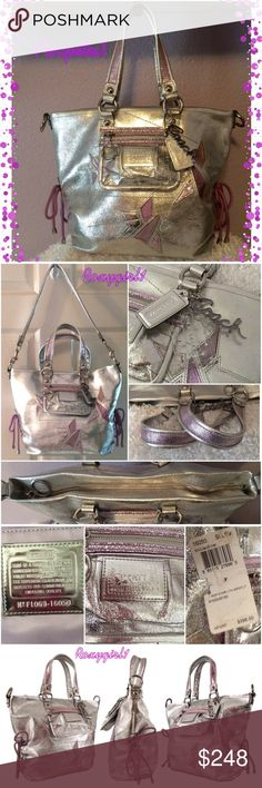 """Coach Poppy Star Metallic Leather Spotlight #16050 Coach Poppy Star Metallic Leather Spotlight Tote Style Handbag  Silver & Purple #16050 MSRP: $398 + Tax  Pristine Condition  Includes Dust Bag  Water/Stain Resistant Silver Metallic leather with inlaid stars  Zip Top Closure  Orchid Interior  1 Zip & 2 Open Slip Pockets  Exterior Front Zip Pocket  Polished Silver Hardware  3 Coach Hangtags  Double Metallic Leather Handles with 7"""" Drop  Adjustable Cinched Sides with Tie Strings Detachable 35""""…"""