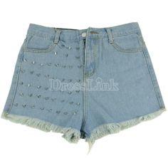 Fashion Vintage Girls' Women Denim Rivets Studded Jeans Shorts Pants Hot