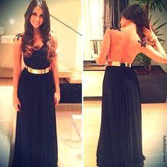 Backless black maxi dress with gold belt