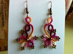 Tatted earrings by rubeania on Etsy. Sooo pretty. love the colors!