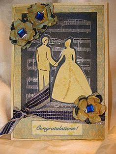 A Wedding Card using the Cricut and embossing and handmade flowers!