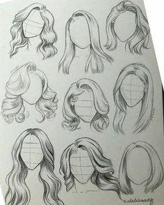 Girl Hair Drawing, Art Drawings Sketches Simple, Pencil Art Drawings, Realistic Drawings, Easy Drawings, Hair Styles Drawing, Drawings Of People, Drawing People, Drawing Hair Tutorial