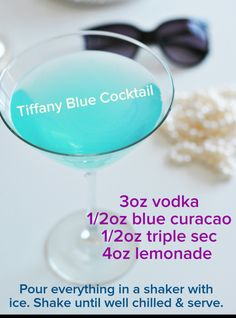 Tiffany Blue Cocktail for your Breakfast at Tiffany's themed bridal shower. @courtneynora