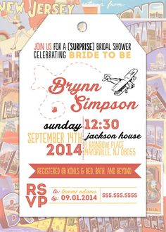 TRAVEL themed bridal shower INVITATION by pixelpdesigns on Etsy, $12.00