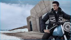 Gabriel-Kane Day-Lewis poses against the Messner Mountain Museum for Fay's fall-winter 2016 campaign.