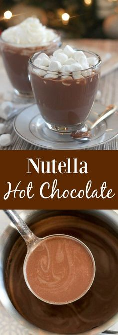 Nutella Hot Chocolate – Only 3 ingredients, ready in minutes! Nutella Hot Chocolate – Quick and easy chocolate and hazelnut flavored Nutella Hot Chocolate. Perfect for chilly days! Köstliche Desserts, Delicious Desserts, Dessert Recipes, Yummy Food, Desserts Nutella, Chocolate Desserts, Thm Recipes, Nutella Drink, Nutella Recipes