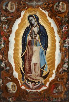 Anónimo, Virgen de Guadalupe con las cuatro apariciones y panorámica de la Villa de Guadalupe, óleo sobre tela, sin medidas, ca. 1700, colección particular, catalogación: Juan Carlos Cancino.