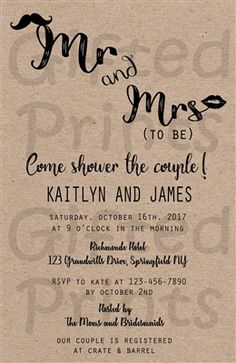 Bridal Shower Invitation • Couples Shower • Mr & Mrs To Be Theme • No cost economy shipping • Fast turnaround time • Great customer service • These invitations are custom, high resolution digital files that are personalized for each customer upon order
