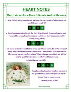 Heart Notes ~ March Scriptures for a More Intimate Walk with Jesus