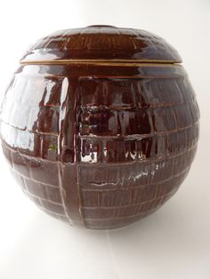 McCoy Brown Basket Cookie Jar w/ Lid