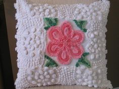 Vintage Chenille Patchwork Pillow by Karen Hearn Embroidery Transfers, Hand Embroidery Designs, Vintage Embroidery, Chenille Crafts, Chenille Bedspread, Crochet Cushions, Crochet Motif, Knit Crochet, Yo Yo Quilt