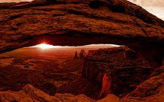 Download wallpapers 4k, Arches National Park, sunset, cliffs, desert, Utah, american landmarks, USA, America