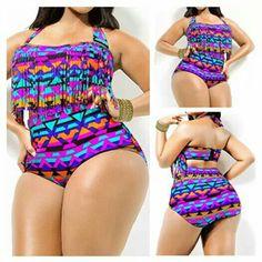 Creabygirls Womens Plus Size Print High Waist Two Piece Tassel Swimsuits(Large)