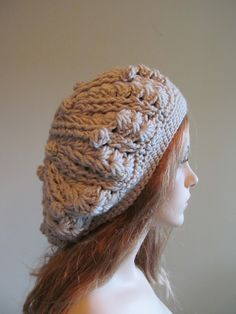 Grey Slouchy Beret Beanie Womens Crochet Slouchy Hats Oversized Beret Slouch. $27.99, via Etsy.