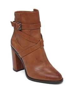 Vince Camuto Gravell Leather Ankle Boots Women's Cognac 8