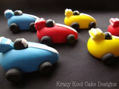 These little race cars are ready to zoom and shift into high gear right onto your awesome cake or cupcakes! Each little race car is being