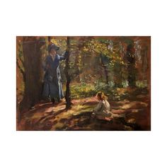 """American School Impressionist painting """"Mother and Child"""" circa 1880"""