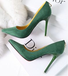 2014 new shoes ladies temperament sexy shoes with the western style Shallow mouth high-heeled shoes Stilettos, Pumps Heels, High Heels, Louboutin, Green Shoes, Green Pumps, Stiletto Shoes, Designer Heels, Fashion Heels