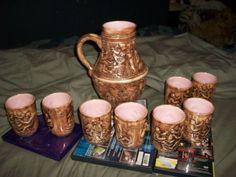 Vintage ceramic pitcher w/ 8 cups, brown & pink, medieval tavern,  | Pottery & Glass, Pottery & China, Art Pottery | eBay!
