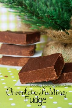 Chocolate Pudding Fudge - this microwave fudge uses instant chocolate pudding mix! What an easy and delicious gift to give!