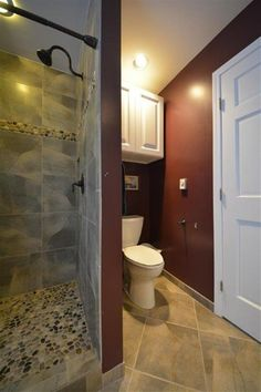 Traditional Master Bathroom with specialty door, Flush, Master bathroom, limestone tile floors, Raised panel Budget Bathroom, Master Bathroom, Pebble Tile Shower Floor, Limestone Tile, Bathroom Design Small, Home Improvement, Raised Panel, Flooring, Bathrooms