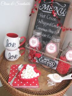 Valentine's Day hot chocolate bar.  I think I might add this to my boys Vday breakfast.