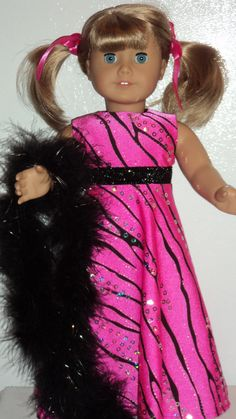 American Girl doll clothes Pink Zebra Gown and by susiestitchit