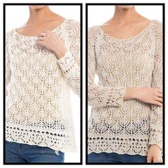 MESH CROCHET TOP IN SAND - SM Not for the shy or timid. 100% Cotton mesh crochet sweater; 24 inches in length. Color is  SAND, and sized SM and ML. No trades or holds, please. Ask for your size and listing; also comes in PEARL. This listing is a size SM S&S Casual Tops Tunics
