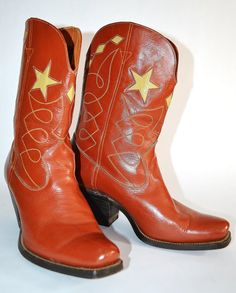 Vintage Rust and Gold All Leather LEON Cowboy by chrissyjosimpy5, $50.00