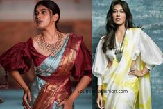 Add a whole lot of drama to the saree blouse sleeves designs and create a contemporary twist with statement sleeves for saree blouses Trendy Sarees, Stylish Sarees, Saree Styles, Blouse Styles, Sari Blouse Designs, Indian Blouse, Saree Look, Traditional Sarees, Sleeve Designs