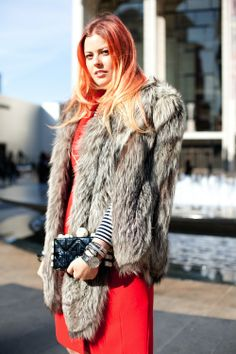 Photo by Ally Lindsay. #NYFW #StreetStyle FUr Coat. To Die For !