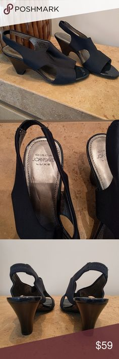 "Pair VTG Joan & David sandals Pair of vintage stretch fabric open toe Joan & David sandals, never worn, dark blue almost black/charcoal color, patent leather edging, silver color leather lining, sz 8 M, 3"" heel, great like new condition, very comfortable! Joan & David Shoes Sandals"
