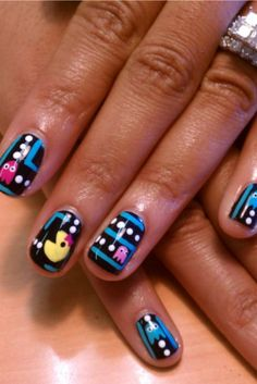 This Pac Man nail art is fantastic! I can't imagine having the patience to do something like this, but I can appreciate it.