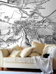 Map Wallpaper - Personalised Vintage Ordnance Survey Map - Old Series from Love Maps On...