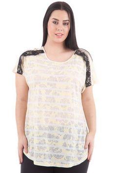 Camiseta con encaje semitransparente. tallas 44 a 60
