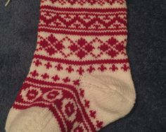Custom Hand Knit Christmas Stocking 2016 by SilentKnitsStockings