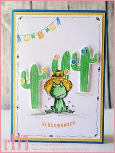Stampin' Up! rosa Mädchen Kulmbach: Geburtstagskarte mit mexikanischem Frosch aus Love you lots, Aus freudigem Anlass und Labeler Alphabet
