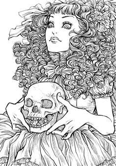 Rafaella Ryon.  Death grim reaper Father Time scythe maiden girl woman dance danse macabre skull skeleton
