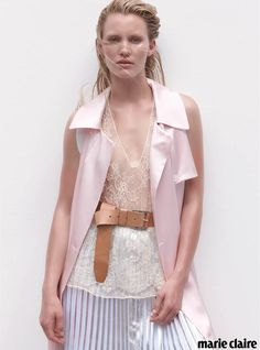 Soft Serve #pastels #summer #pink #modern Photographed by #StephenWard. Styled by #ValeryiYong. Hair by #Koh Creative for #O&M. Make-Up by #SarahTammer Creative using #GiorgioArmani Cosmetics. Model #Emily at #Priscillas. Coat by #KarlaSpetic. Top #RabensSaloner at #JoanieLovesChaChi. Skirt by #Saba.